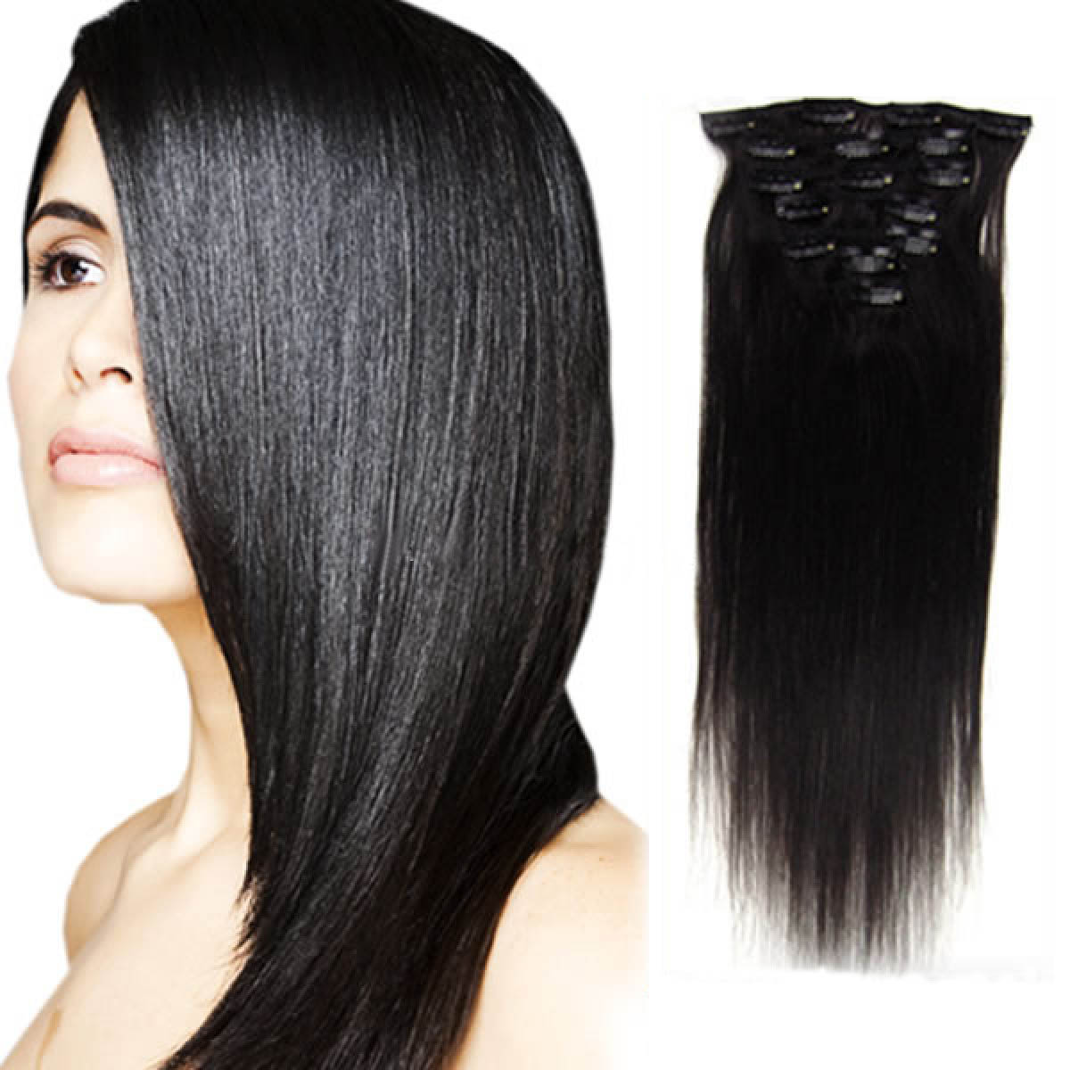 15 Inch #1b Natural Black Clip In Human Hair Extensions 7pcs