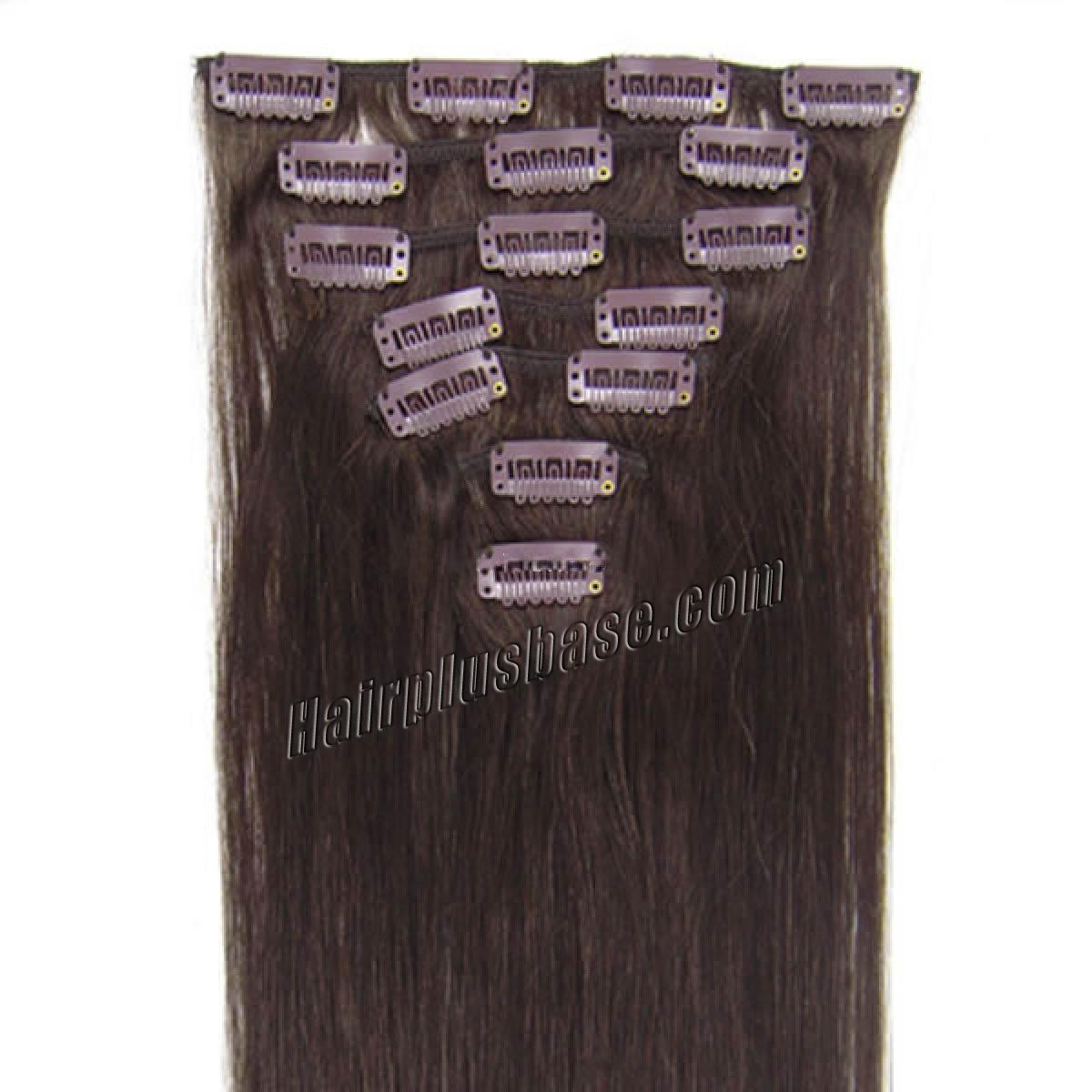 15 Inch #2 Dark Brown Clip In Human Hair Extensions 7pcs no 1