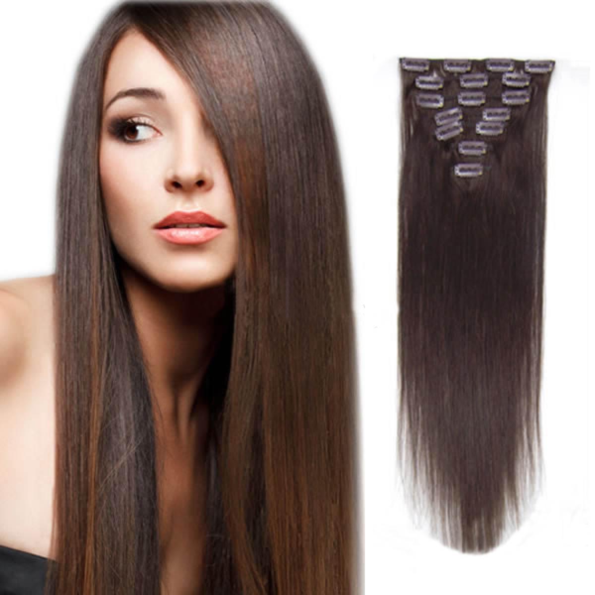 15 Inch #2 Dark Brown Clip In Human Hair Extensions 7pcs