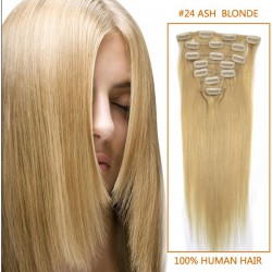15 Inch #24 Ash Blonde Clip In Human Hair Extensions 7pcs