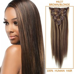 15 Inch #4/27 Brown/Blonde Clip In Human Hair Extensions 7pcs