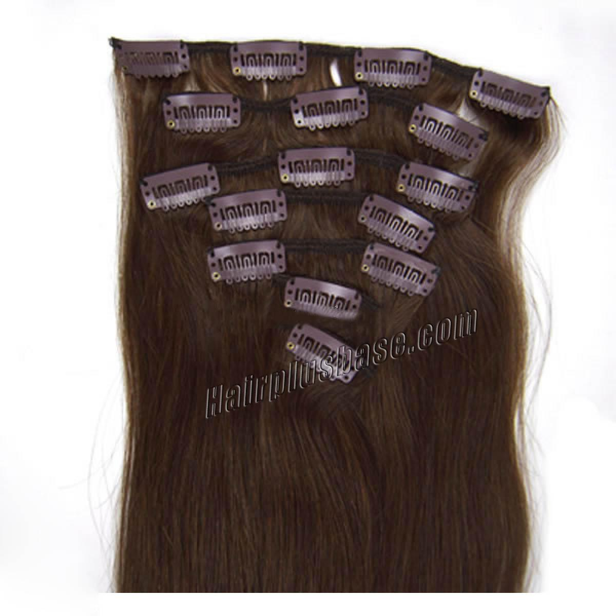 15 Inch #4 Medium Brown Clip In Human Hair Extensions 7pcs no 1