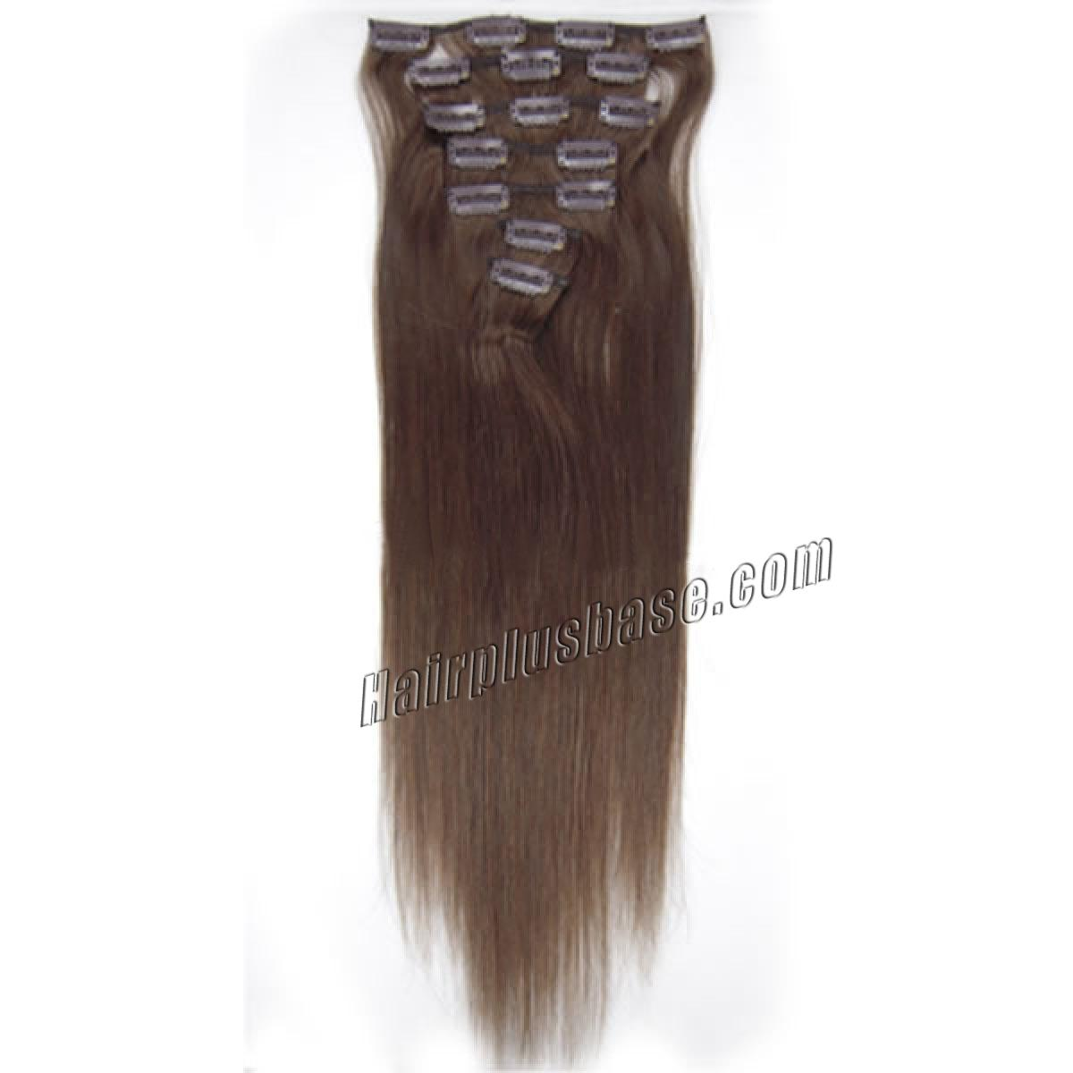 15 Inch #4 Medium Brown Clip In Human Hair Extensions 7pcs no 2
