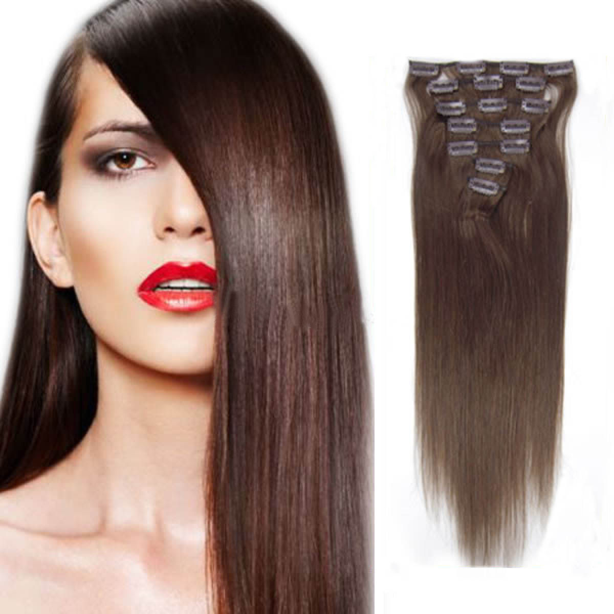 15 Inch #4 Medium Brown Clip In Human Hair Extensions 7pcs