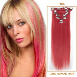 15 Inch Pink Clip In Human Hair Extensions 7pcs