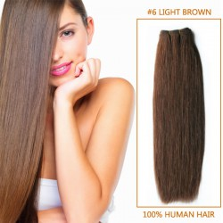 16 Inch  #6 Light Brown Straight Indian Remy Hair Wefts