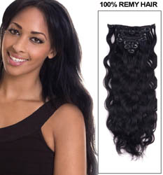 16 Inch #1 Jet Black Good Clip In Indian Remy Hair Extensions Body Wave 7 Pcs at Great Price