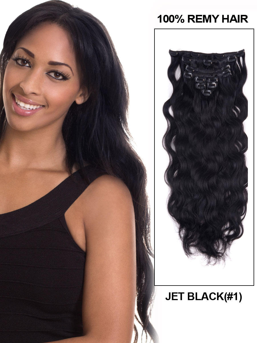 16 Inch 1 Jet Black Good Clip In Indian Remy Hair Extensions Body