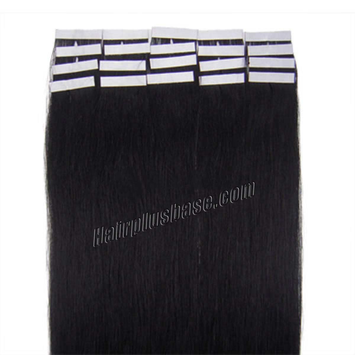 16 Inch #1 Jet Black Tape In Human Hair Extensions 20pcs no 2