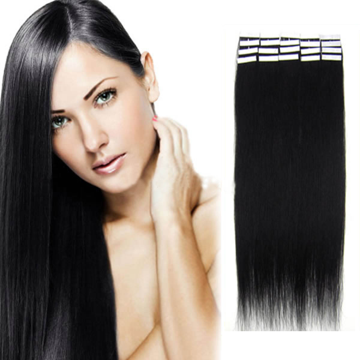 16 Inch #1 Jet Black Tape In Human Hair Extensions 20pcs