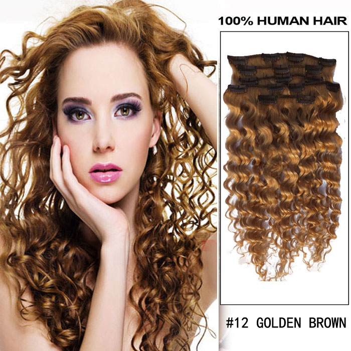16 inch 12 golden brown clip in hair extensions curly 7 pieces set 16 inch 12 golden brown clip in hair extensions curly 7 pieces sets pmusecretfo Image collections