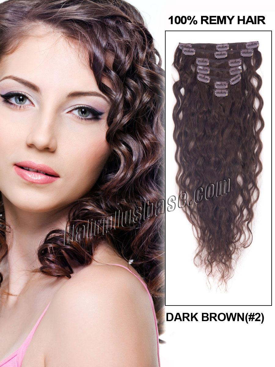 16 Inch 140g 2 Dark Brown Deluxe Clip In Hair Extensions Loose