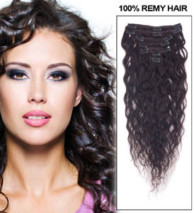 16 Inch #1B Natural Black Practical Clip In Remy Hair Extensions French Wavy 7 Pcs