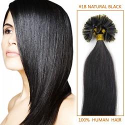 16 Inch #1b Natural Black Stick Tip Human Hair Extensions 100S