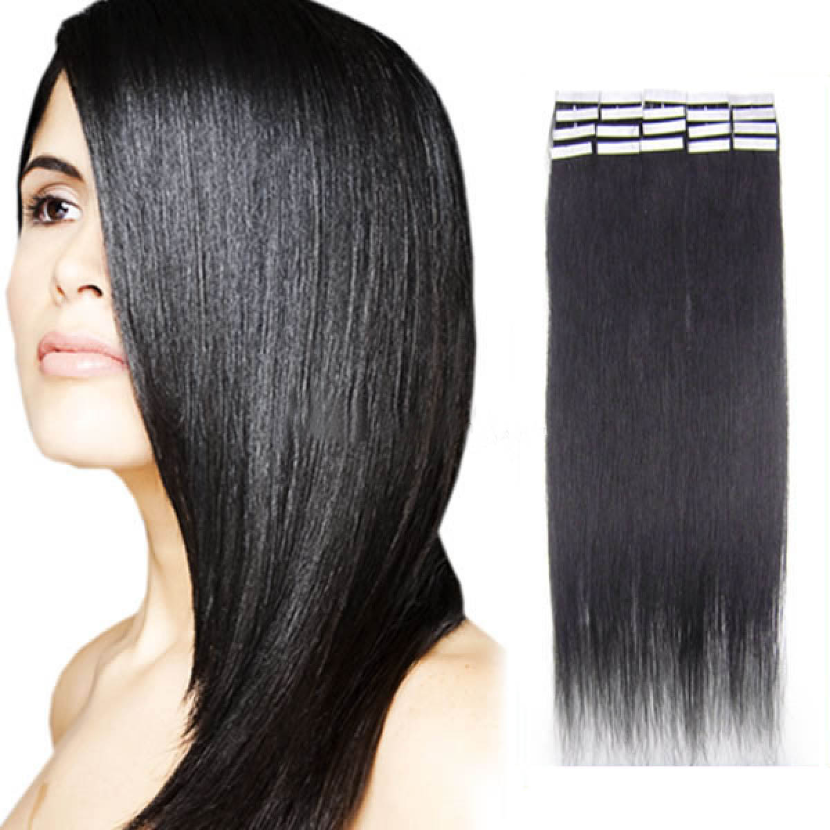 16 Inch 1b Natural Black Tape In Human Hair Extensions 20pcs