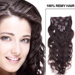 16 Inch #2 Dark Brown Clip In Human Hair Extensions Body Wave 7 Pcs in Good Quality