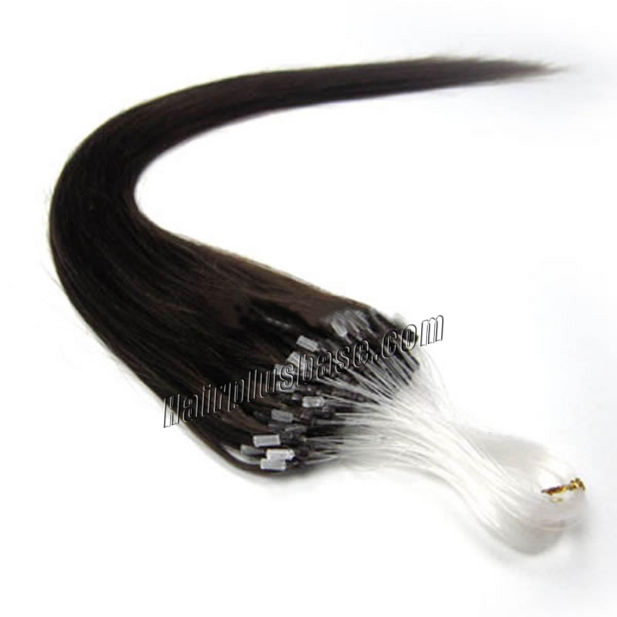 16 Inch #2 Dark Brown Micro Loop Human Hair Extensions 100S no 1