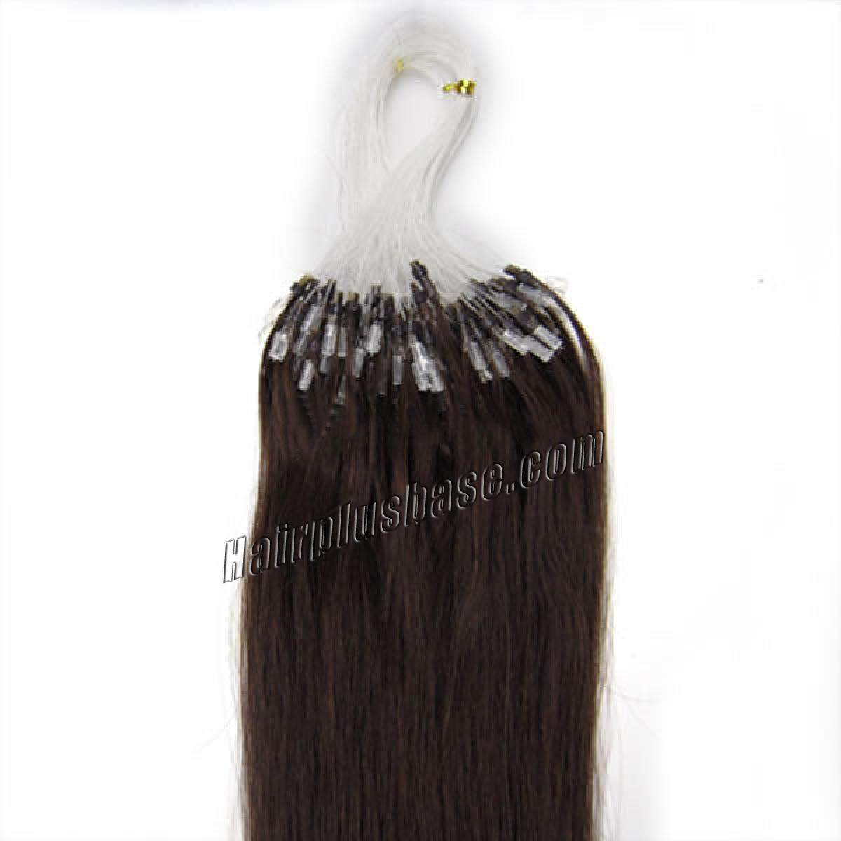 16 Inch #2 Dark Brown Micro Loop Human Hair Extensions 100S no 2