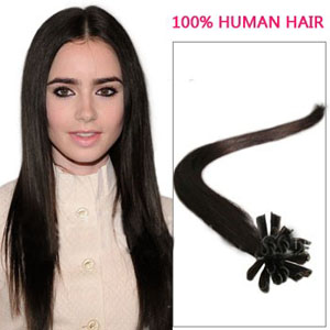 16 Inch 100s Feat Straight Nail/U Tip Human Hair Extensions #2 Darkest Brown 50g