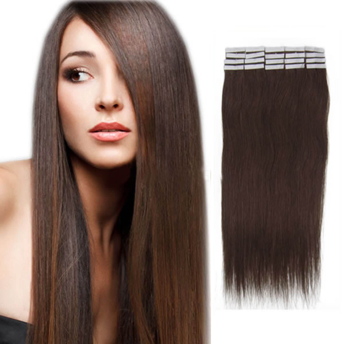 16 Inch #2 Dark Brown Tape In Human Hair Extensions 20pcs