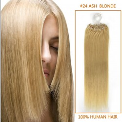 16 Inch #24 Ash Blonde Micro Loop Human Hair Extensions 100S
