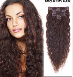 16 Inch #4 Medium Brown Glamorous Clip In Hair Extensions French Wavy 7 Pcs