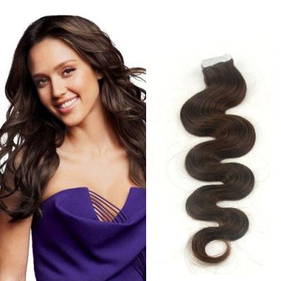 16 Inch #4 Medium Brown Light Tape In Hair Extensions Body Wave 20 Pcs