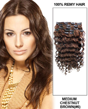 16 Inch #6 Light Brown Clip In Hair Extensions More Texture Curly 7 Pieces Set
