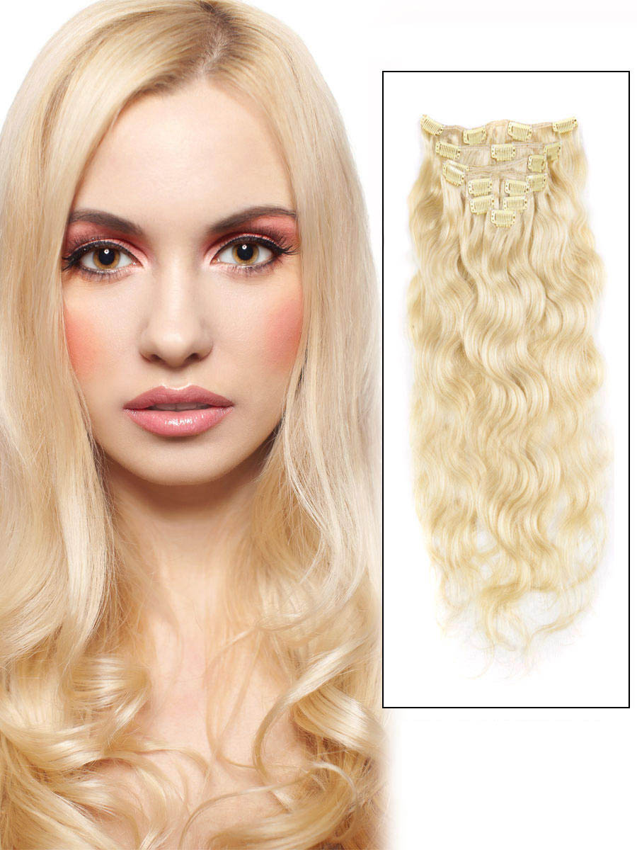 16 Inch 613 Bleach Blonde Fine Clip In Hair Extensions Body Wave 7 Pcs