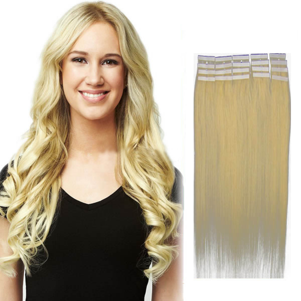 16 Inch 613 Bleach Blonde Tape In Human Hair Extensions 20pcs