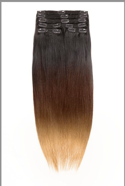 16 Inch Bright Ombre Clip In Indian Remy Hair Extensions Straight 9pcs no 1