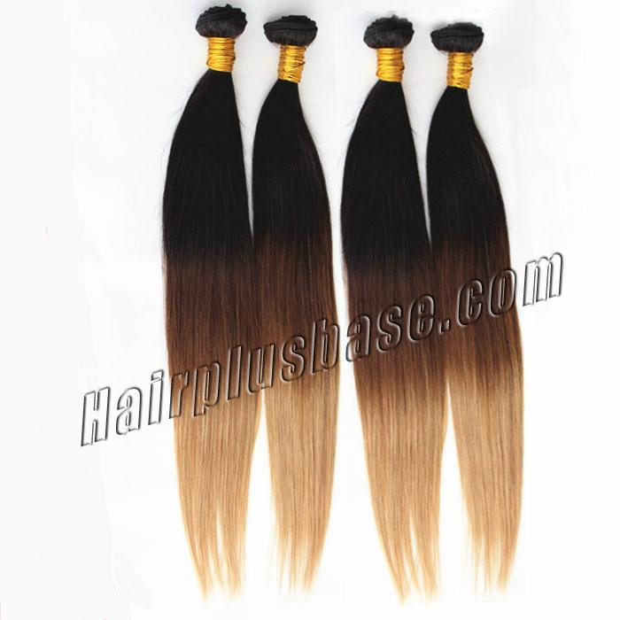 16 Inch Bright Ombre Clip In Indian Remy Hair Extensions Straight 9pcs no 2