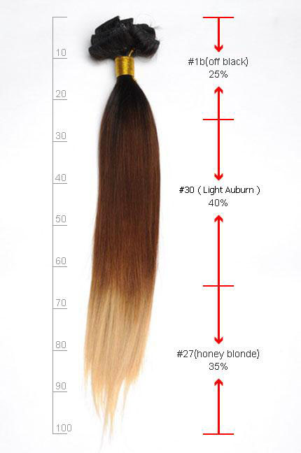 16 Inch Bright Ombre Clip In Indian Remy Hair Extensions Straight 9pcs no 3