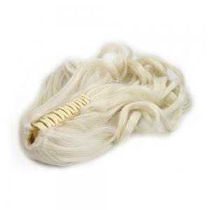 16 Inch Claw Clip Human Hair Ponytail Curly Pure #60 White Blonde
