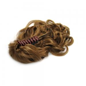 16 Inch Claw Clip Human Hair Ponytail Curly Shining #8 Ash Brown