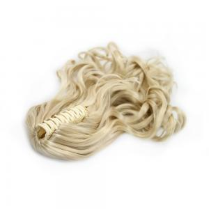 16 Inch Convenient Claw Clip Human Hair Ponytail Curly #24 Ash Blonde