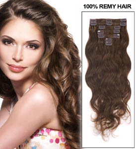 16 Inch Fabulous #6 Light Brown Clip In Hair Extensions Body Wave 7 Pcs