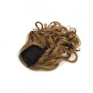 16 Inch Favourable Drawstring Human Hair Ponytail Curly #8 Ash Brown