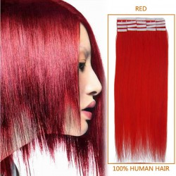 16 Inch Red Tape In Human Hair Extensions 20pcs