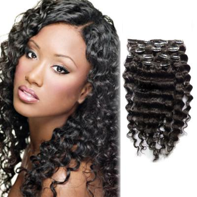 16 Inch Versatile #1B Natural Black Clip In Hair Extensions Curly 7 Pieces