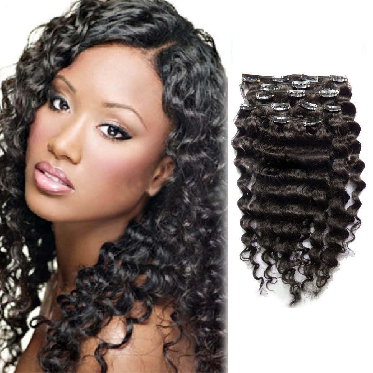 16 Inch Versatile 1b Natural Black Clip In Hair Extensions Curly 7