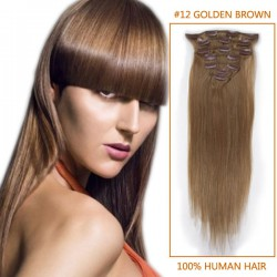 18 Inch #12 Golden Brown Clip In Human Hair Extensions 10pcs