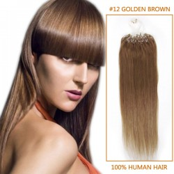 18 Inch #12 Golden Brown Micro Loop Human Hair Extensions 100S 100g