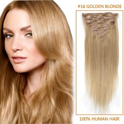 18 Inch #16 Golden Blonde Clip In Human Hair Extensions 11pcs