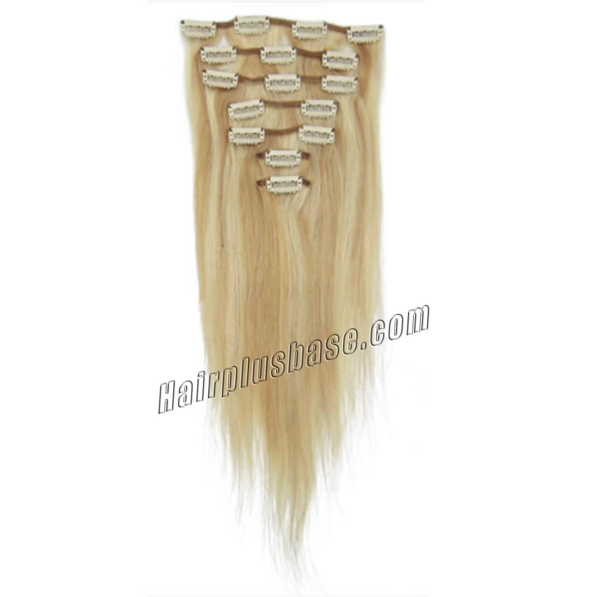 18 Inch #18/613 Blonde Highlight Clip In Remy Human Hair Extensions 7pcs no 1