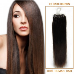 18 Inch #2 Dark Brown Micro Loop Human Hair Extensions 100S