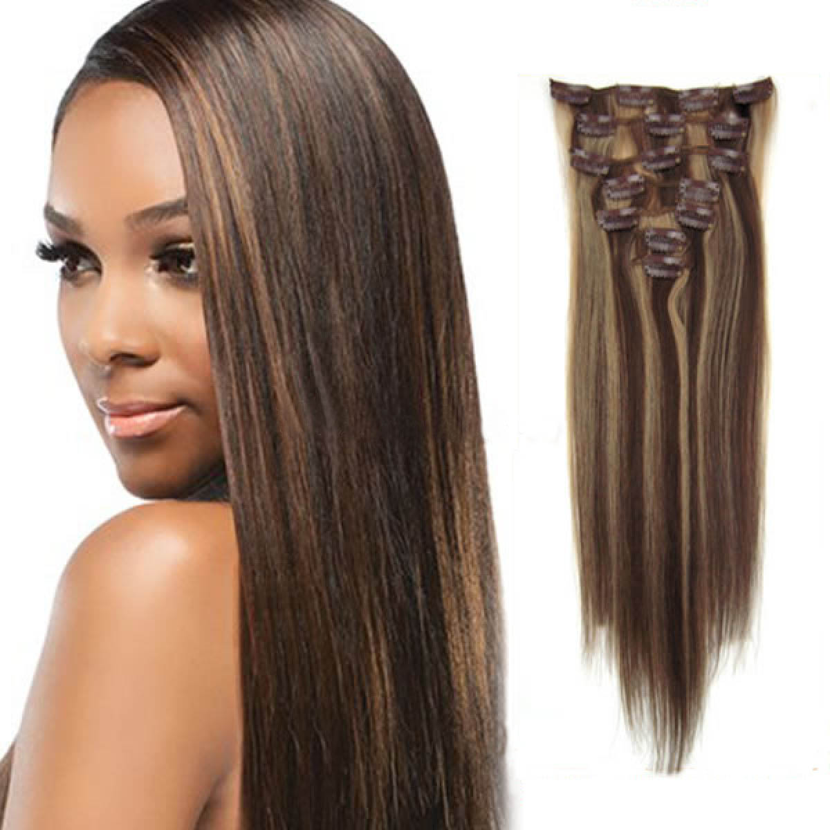18 Inch 427 Brownblonde Clip In Remy Human Hair Extensions 7pcs