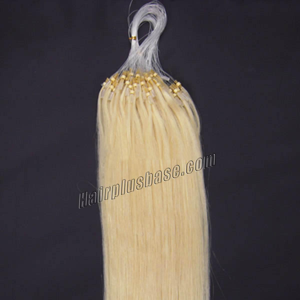 18 Inch 60 White Blonde Micro Loop Human Hair Extensions 100s