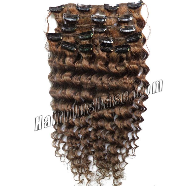 18 Inch #8 Ash Brown Unusual Clip In Hair Extensions Curly 7 Pieces no 1