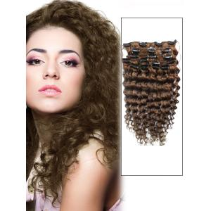 18 Inch #8 Ash Brown Unusual Clip In Hair Extensions Curly 7 Pieces